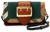 Burberry Small Buckle Suede & House Check Shoulder Bag, Sea Green