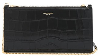 Saint Laurent Foiled-logo Crocodile-effect Leather Pouch - Black