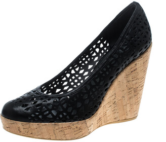 Stuart Weitzman Black Perforated Leather Nudotcomer Platform Cork Wedge Pumps Size 41