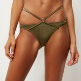 River Island Womens Khaki strappy bikini bottoms