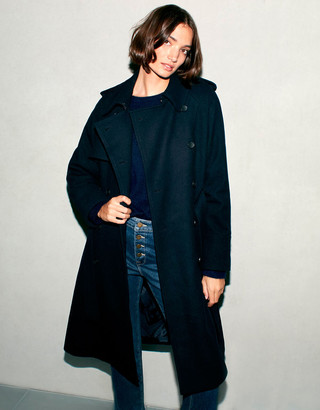 Monsoon Double-Breasted Trench Coat in Wool Blend Blue