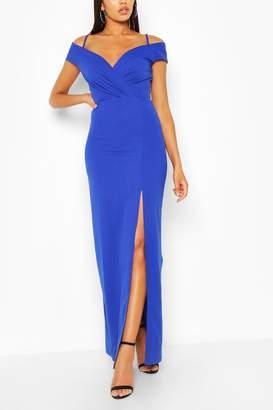 boohoo Off Shoulder Split Maxi Dress