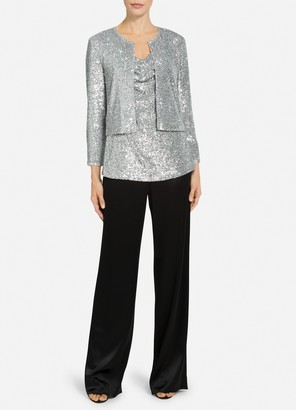 St. John Starlight Sequin Mesh Cardigan