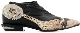 Toga Pulla Snakeskin Effect Panelled Ankle Boots