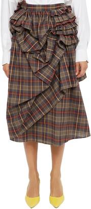 Vìen Vien Ruffled Tartan Skirt