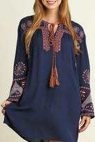 Umgee USA Navy Embroidered Dress