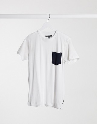 French Connection check pocket t-shirt in white