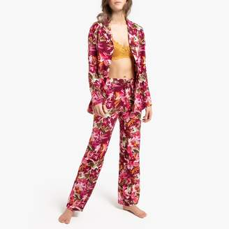 La Redoute Collections Floral Print Semi-Transparent Pyjamas with Long Sleeves