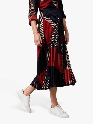 Phase Eight Clarice Geometric Pleated Midi Skirt, Multi