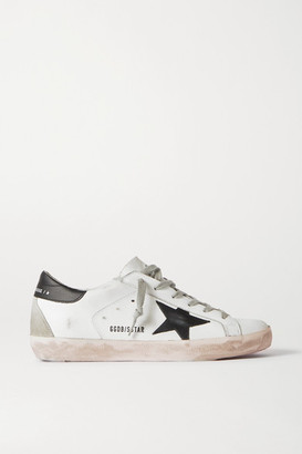 Golden Goose Superstar Distressed Leather Sneakers - White