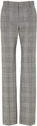MSGM Grey Checked Wool Trousers