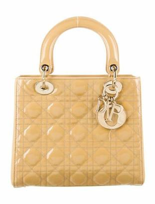 Christian Dior Medium Patent Cannage Lady Bag w/ Strap Gold
