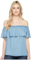 7 For All Mankind Off Shoulder Ruffled Denim Top Women's Clothing