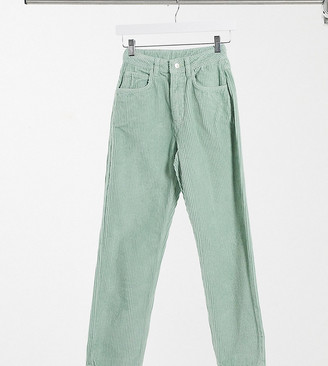 Reclaimed Vintage The '91 mom jean in sage green wash cord