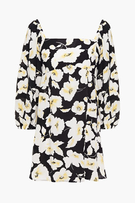 BA&SH Fire Gathered Floral-print Crepe De Chine Mini Dress