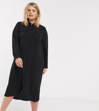 Vero Moda Curve maxi shirt dress in black