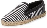 Jimmy Choo Vlad Men's Striped Espadrille Slip-On Sneaker, Black/White