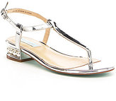 Betsey Johnson Blue by Evie Metallic T-Strap Pearl Detail Dress Sandals