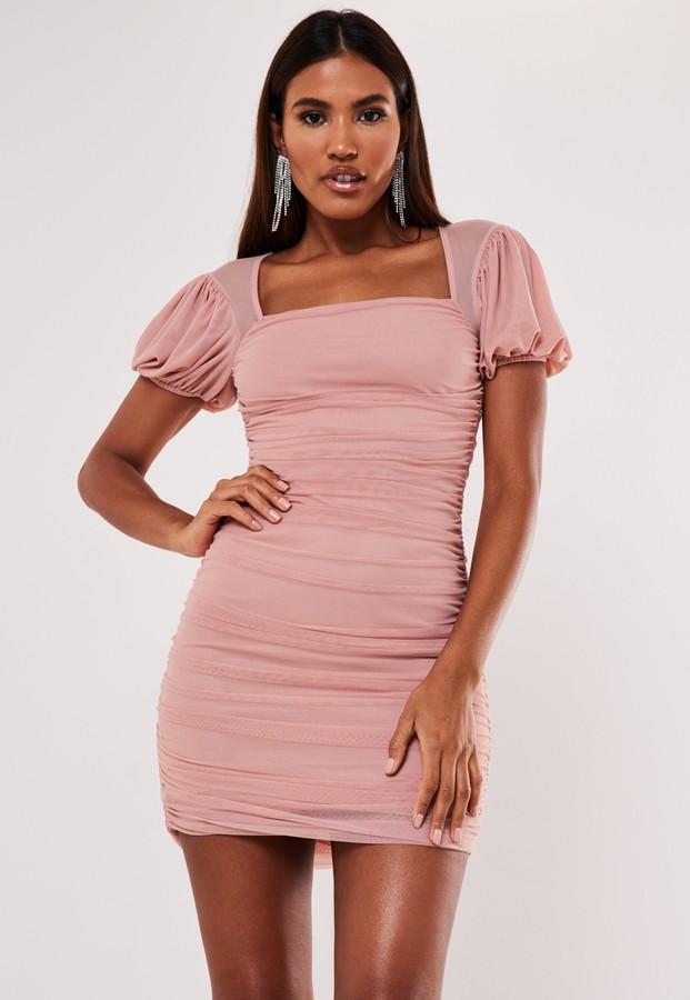 Missguided Blush Mesh Puff Sleeve Milkmaid Mini Dress