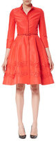 Carolina Herrera Sequined 3/4-Sleeve Belted Shirtdress, Poppy