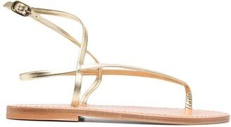 K. Jacques Delta metallic flat sandals