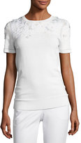 Elie Tahari Hadley Mixed-Media Short-Sleeve Merino Sweater, Ivory