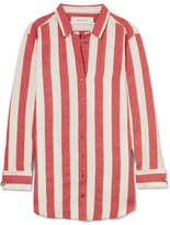 Marques Almeida Marques' Almeida - Oversized Striped Linen And Cotton-blend Shirt - Red