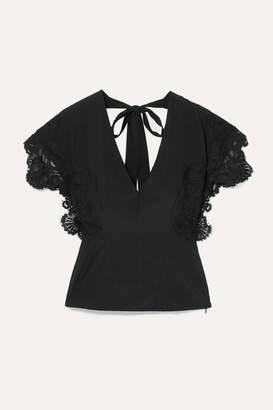 Kiki de Montparnasse Open-back Lace-trimmed Stretch-silk Crepe Top - Black