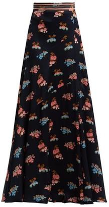 Peter Pilotto Fig-print Silk Maxi Skirt - Blue