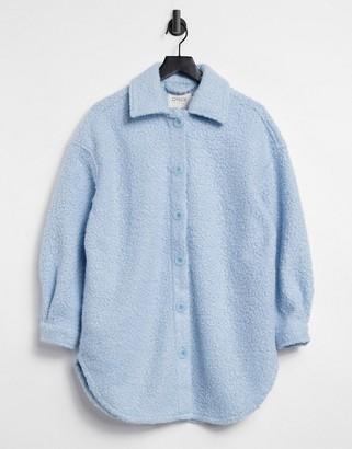 Only longline shacket in blue