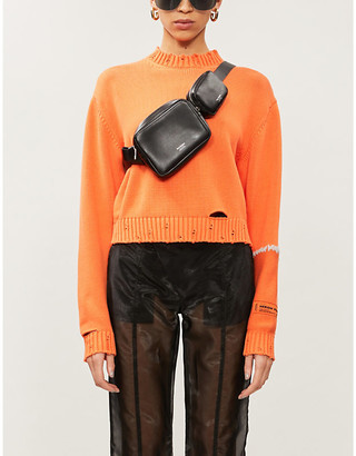 Heron Preston Stitch-applique ripped cotton-knit jumper