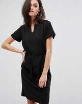 Club L Office V Neck Tie Waist Midi Dress
