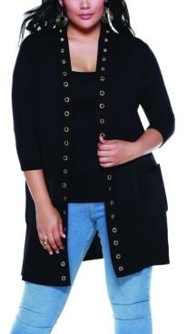 Belldini Black Label Women's Plus Size Grommet Trim Duster Knit Cardigan