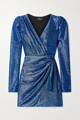 PatBO Wrap-effect Draped Metallic Lame Mini Dress - Blue