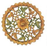 Teak relief panel, 'Morning Bloom'
