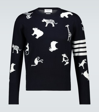 Thom Browne Animal intarsia merino sweater