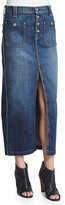 7 For All Mankind Slim-Fit Denim Midi Skirt, Blue
