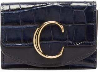 Chloé The C Logo Crocodile-embossed Leather Wallet - Womens - Navy