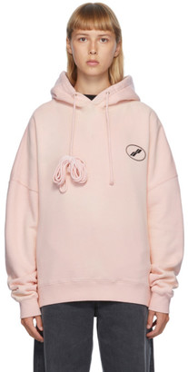 we11done Pink Iridescent Logo Hoodie