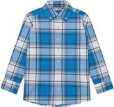 Lands' End Blue Plaid Poplin Shirt