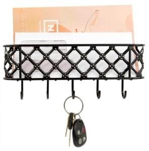 Home Basics Black Lattice Letter Rack with Key Hooks