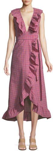 MISA Los Angeles Stella Gingham-Print Draped Ruffle Midi Dress