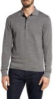 Luciano Barbera Men's Grey Needlepoint Wool & Silk Polo Sweater