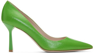 Miu Miu Green Crackled Leather Heels
