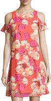 Eliza J Floral-Print Flutter-Sleeve Dress, Pink Pattern