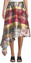 ADAM by Adam Lippes Silk-Lamé; Jacquard Side-Drape Skirt