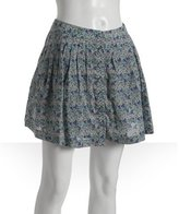 grey floral 'Henna' pleated button front skirt