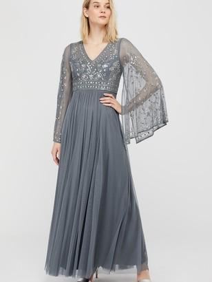 Monsoon Fleur Embellished Flute Sleeve Dress - Blue