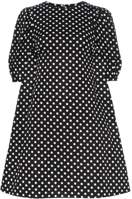 PASKAL clothes Polka Dot Print Flared Cotton Mini Dress