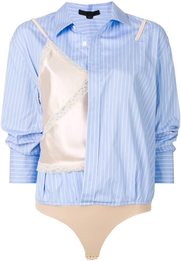 Alexander Wang Pinstripe Hybrid Shirt bodysuit